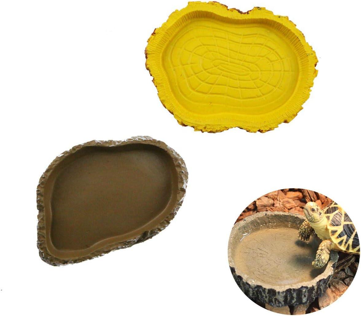 Winterworm Juego de 2 platos de agua de tortuga repelente para comederos para amphibianos Gecko Snakes lagarto camaleón