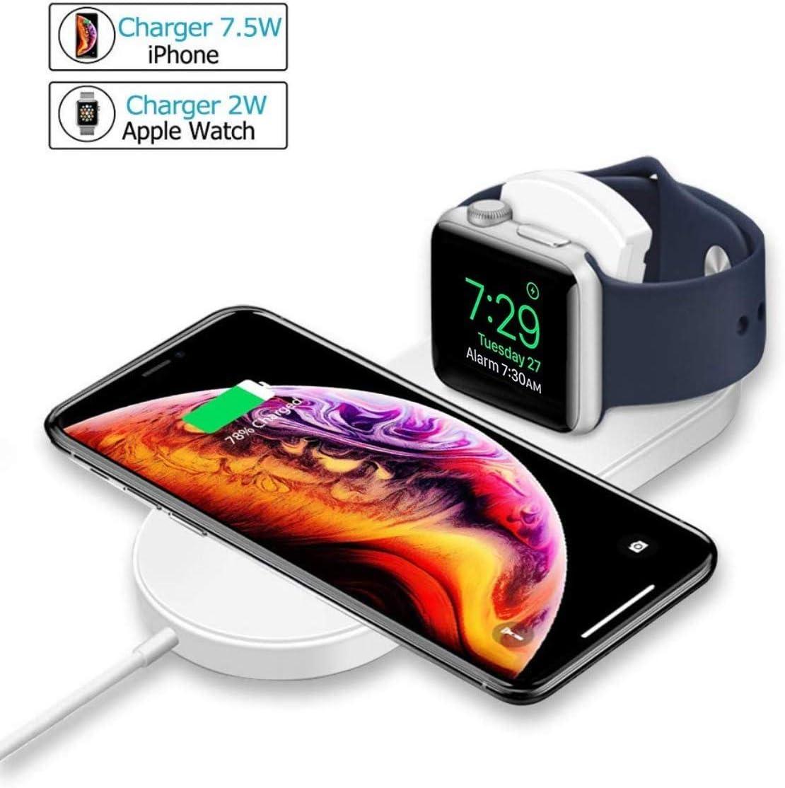 ATETION Cargador inalámbrico para Apple Watch, Soporte de Plataforma de Carga 2 en 1 Compatible con con para 11 Pro MAX/XS/XS MAX/XR/X / 8 / Plus/Series 5/4/3/2/1