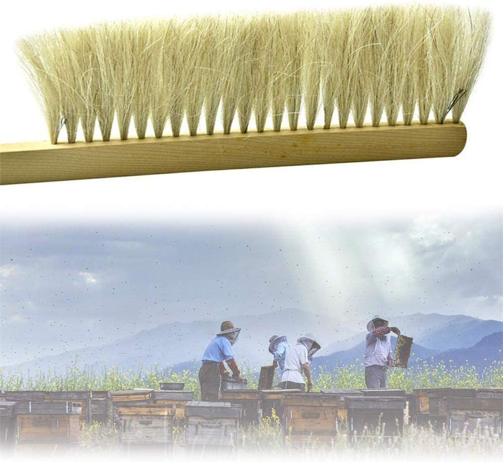 YOUNICER Natural Beekeeping Pig Hair Bristle Beehive Brush Beekeeping Tool Kit Beekeeping Brush Tool Wood Handle Double Row Brush Sweeping Ponytail 42 10cm
