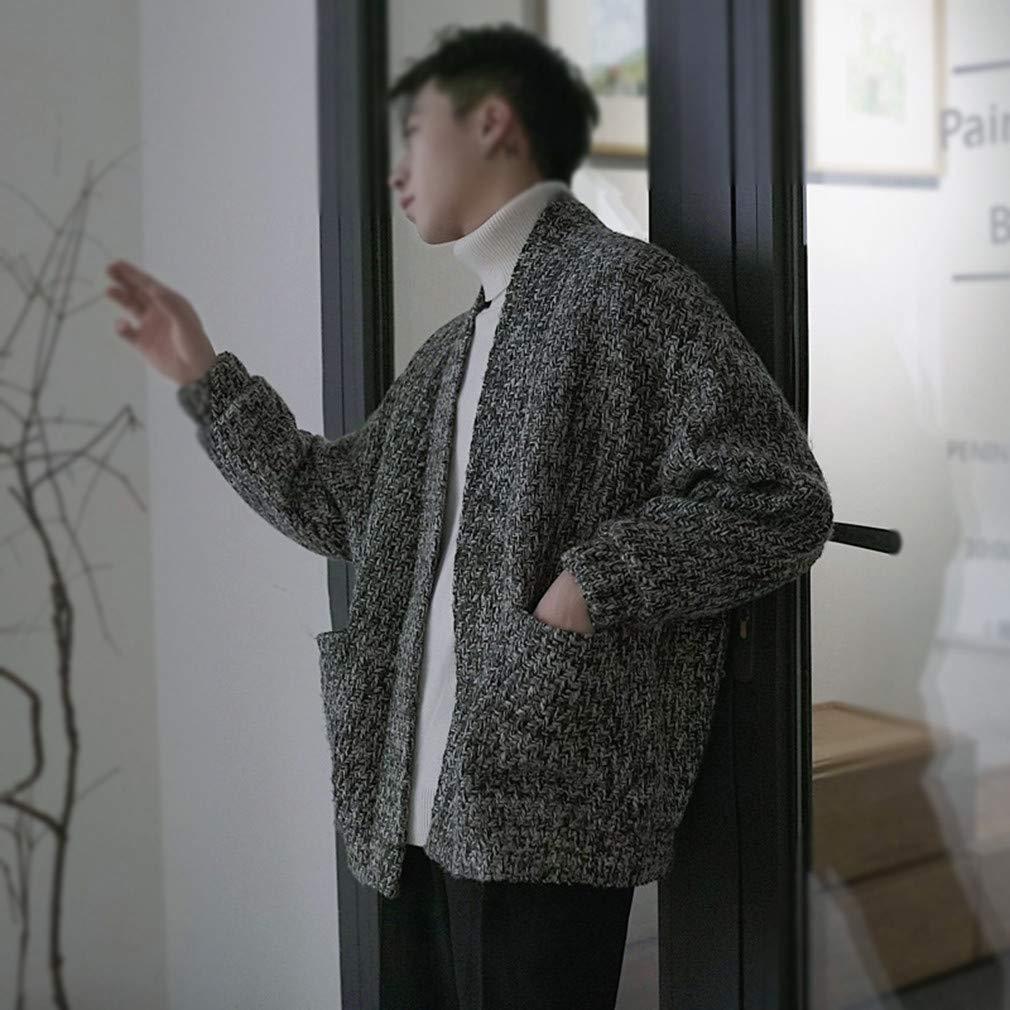 Usopu Mens Solid Color V Neck Buttonless Long Sleeved Cardigan