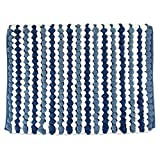 """Baby : DII Ultra Soft Plush Spa Microfiber Shag Chenille Bath Mat Place in Front of Shower, Vanity, Bath Tub, Sink, and Toilet, 17 x 24"""" - Blue Stripe"""
