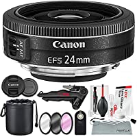 Canon EF-S 24mm f/2.8 STM Lens and Xpix Exclusive Bundle w/Remote + Filters + Xpix 2-in-1 Tripod + Lens Pouch + Xpix Cleaning Kit