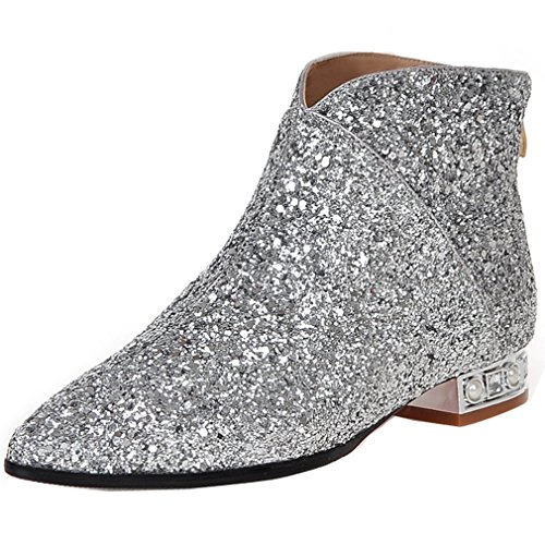 Silver Sequin Boots - ENMAYER Women's Silver Charming Sequins Style Ankle Boots 10 B(M) US