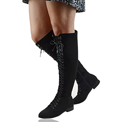 f040245b1c5b ESSEX GLAM Womens Black Faux Suede Lace Up Knee High Combat Biker Boots 5 B(