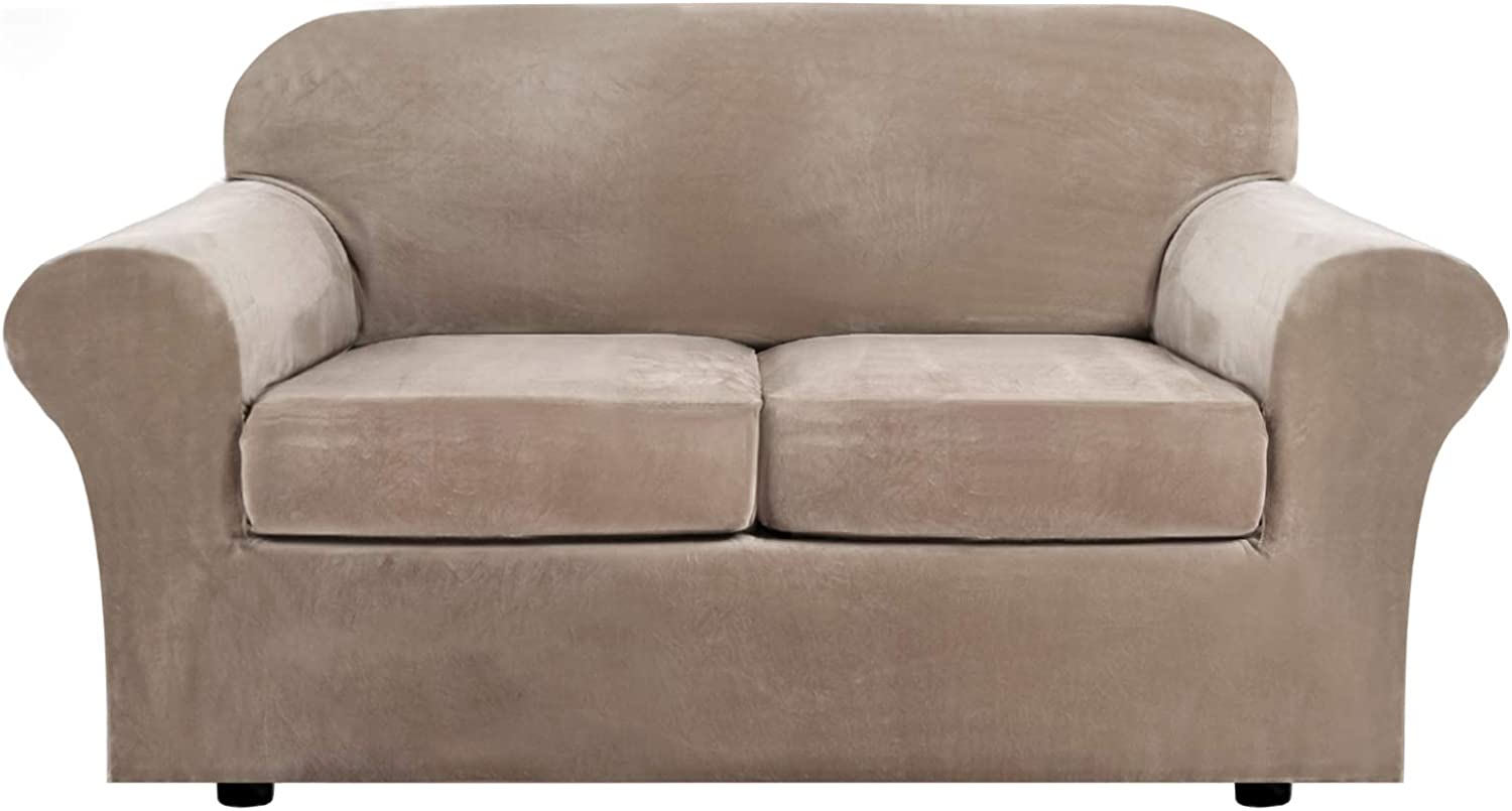 Real Velvet Plush 3 Piece Stretch Sofa Cover Velvet-Sofa Slipcover Loveseat Cover Furniture Protector Couch Soft Loveseat Slipcover for 2 Cushion Couch with Elastic Bottom(Loveseat,Taupe)