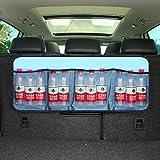 Car Boot Organiser Backseat Organizer Waterproof Oxford Cloth Car Seat Storage Trunk Organizers with 4 Pocket, Adjustable Straps,Magic Sticker (Light Blue)