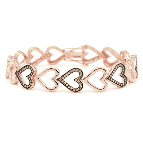 CZ Heart Link Bracelet Chocolate Pink Rose Gold-Flashed Women Fashion 7in
