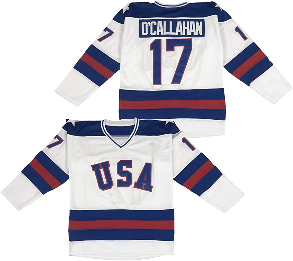 Mens 1980 Olympic Game Team USA 17 Jack OCallahan 21 Mike Eruzione 30 Jim Craig Miracle On Ice Hockey Jersey Stitched