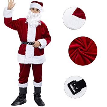 Disfraz de Papá Noel para Adulto (6 Piezas), Disfraz Santa Claus, Color Vino Rojo.