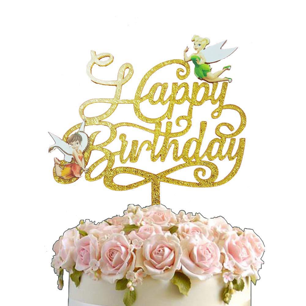 Polka Dot Sky Fairy Princess Tinker Bell 3D Art Gold Glitter Happy Birthday Party Acrylic Cake Topper Pick Decoration Unique Design