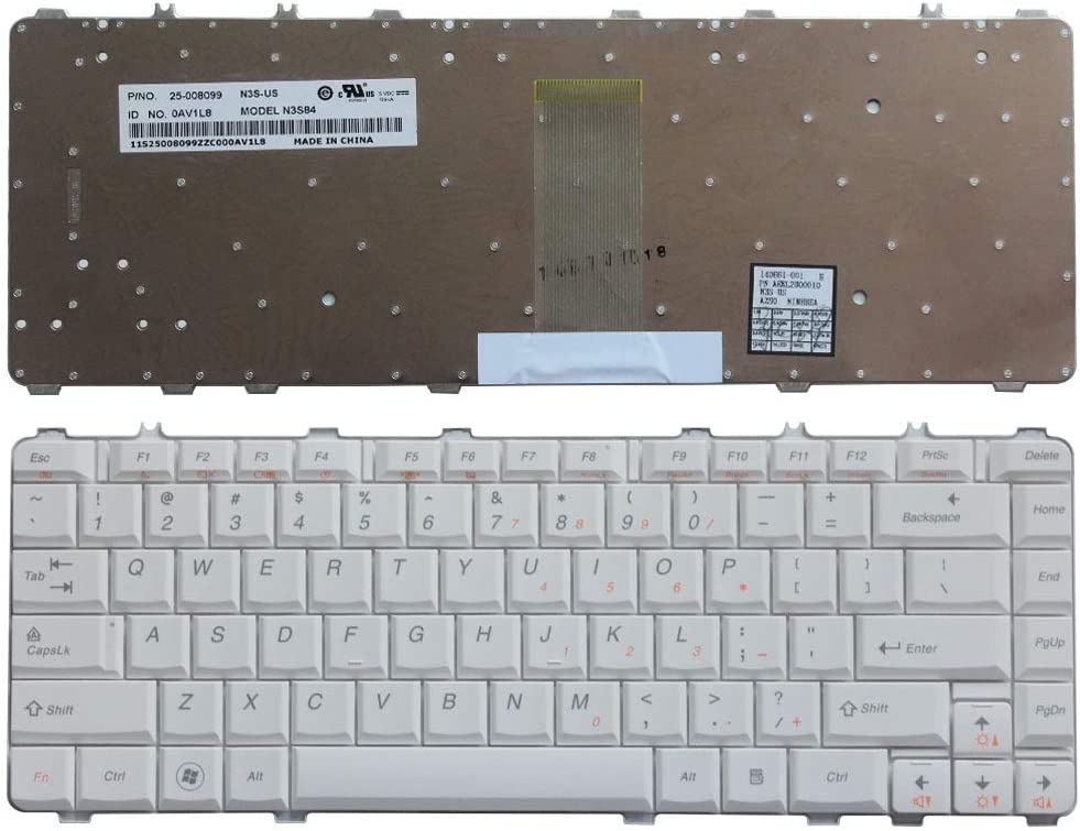 Laptop Replacement Keyboard Fit Lenovo IdeaPad Y450 Y450A Y450AW Y450G Y550 Y550A Y550P Y460 Y560 B460 Y550A US Layout (White)