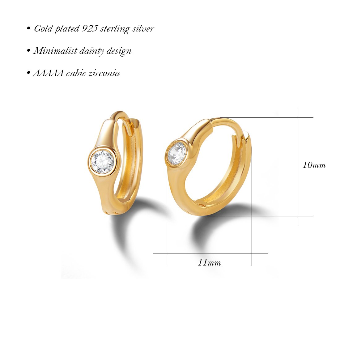Carleen 14K Yellow Gold Plated 925 Sterling Silver Round Cut Cubic Zirconia CZ Dainty Hinged Hoop Earrings for Women Girls, 11x10mm by Carleen (Image #4)