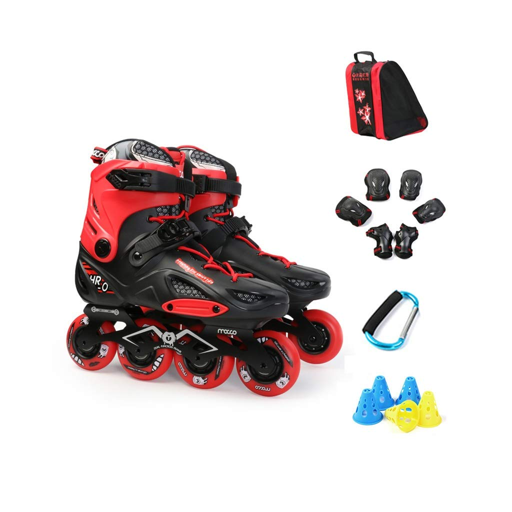Ailj Inline Skates, Adult Single Row Skates 4 Rounds of Roller Skates Professional Skates Full Set Beginner College Students 2 Colors (Color : Red, Size : 35 EU/4 US/3 UK/22.5cm JP)