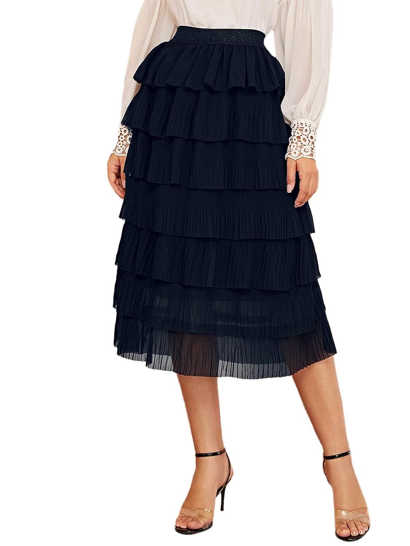 1920s Skirt History Verdusa Womens Elegant Ruffle Layered Elastic Waist A-line Midi Skirt $24.99 AT vintagedancer.com