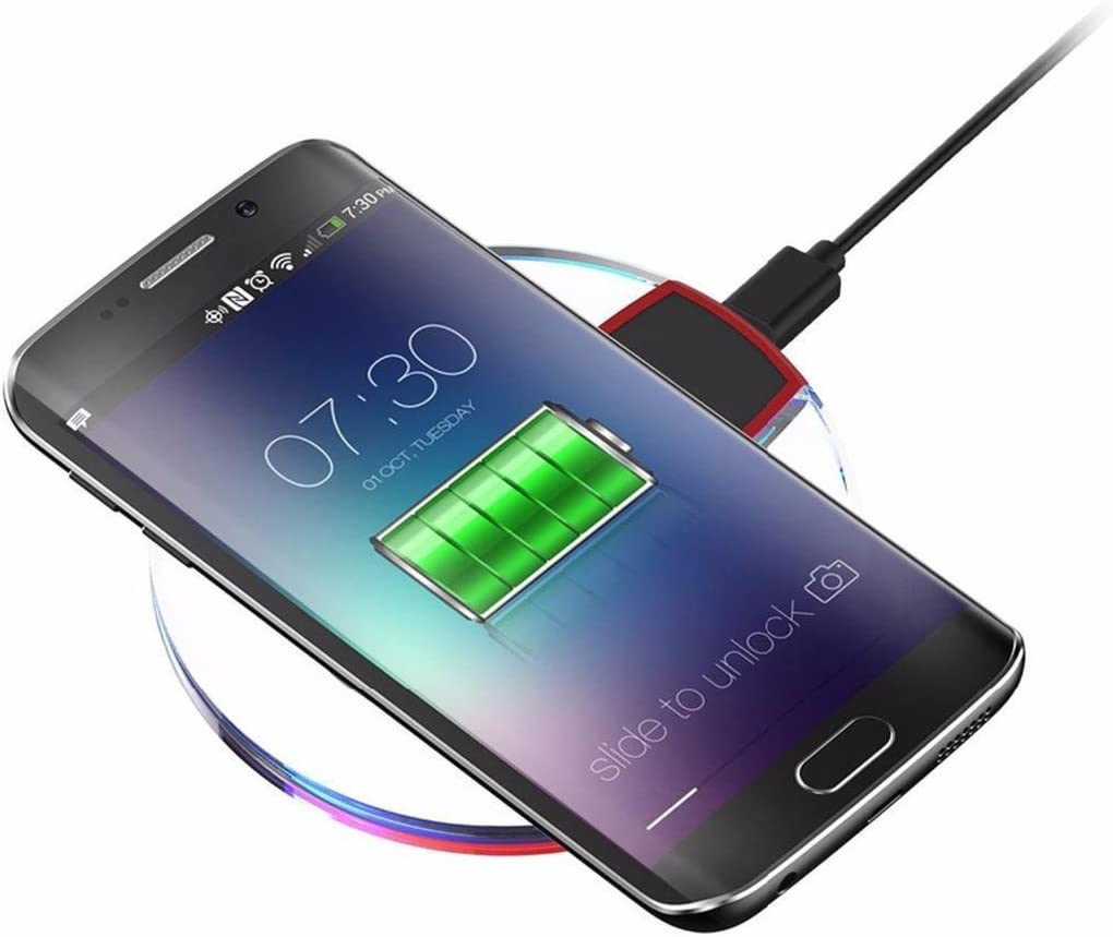 Not Included The Cable ROCONAT Wireless Charger Crystal Round Charging Pad with Receiver for Smart Phone Charging Stations