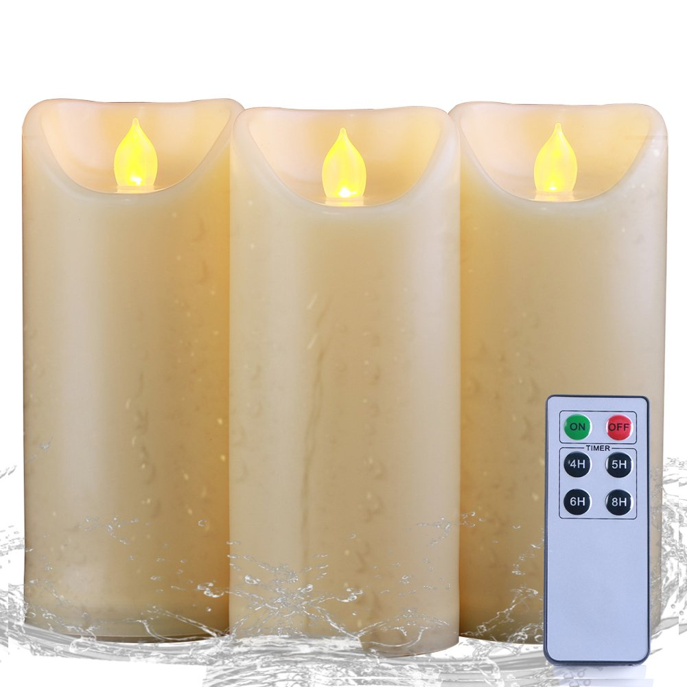 Homemory 3PCS 7''7''7'' Waterproof Flameless Candles with Timer and Remote Control, Battery Operated Flickering LED Candles, Realistic Fake Candles, Amber Yellow, Votive, Weddings, Festivals Decorations