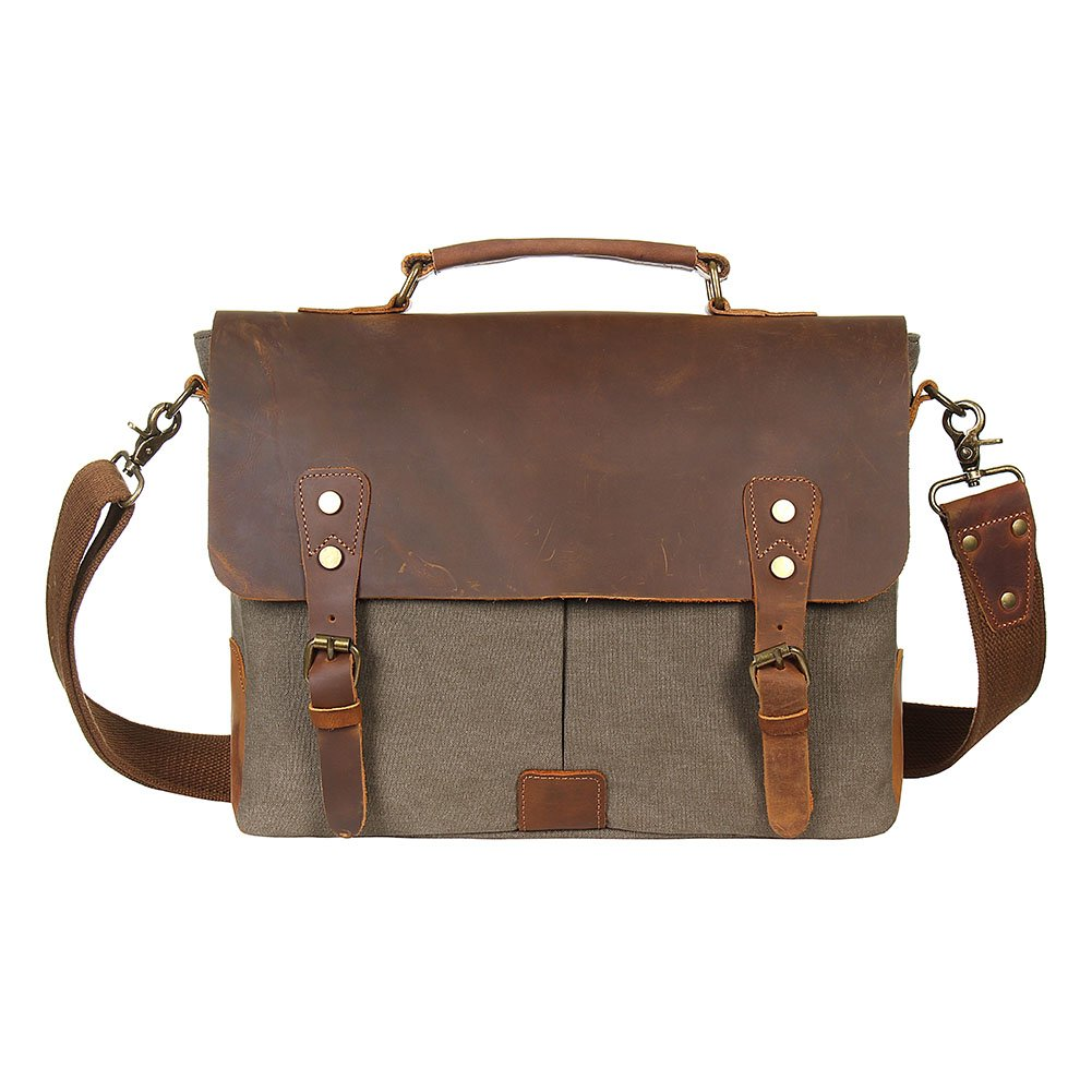 low-cost FLYCOOL Unisex Vintage Canvas Real Leather Messenger Bag Travel  Briefcase Grey 13d86a73b9fd8