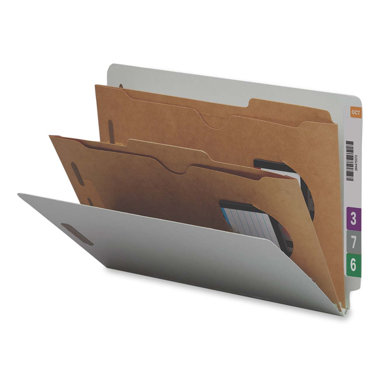 Smead End Tab Classification File Folder with SafeSHIELD Fasteners, 2 Pocket-Style Dividers, 2'' Expansion, Legal Size, Gray/Green, 10 per Box (29710) by Smead