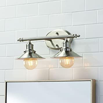 home decorators collection 2 light brushed nickel retro vanity light - Home Decorators Vanity