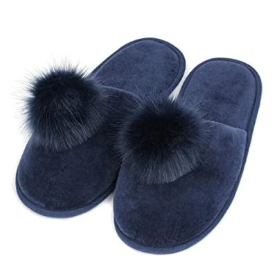 FamiPort Pom House Slippers for Women Cute Velet Fuzzy Pink Slippers Memory Foam Slip on Bedroom Slipper with Durable Rubber Sole Winter | Slippers