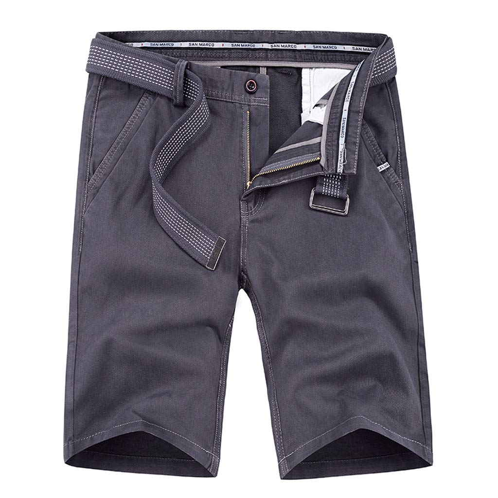 Ninasill Hot!Men's Zippered Tooling Shorts Solid Color with Belt with Pocket Sports Shorts Large Size Casual Beach Shorts Gray
