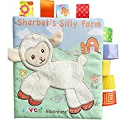 Baby Development Cloth Books, Scofieldly 1PC Sheep Non-toxic Soft Fabric Baby Cloth Books Early Education Toys Activity Crinkle Cloth Book for Toddler, Infants and Kids - Perfect for Baby Shower