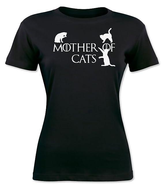 Finest Prints Mother of Cats Camiseta para Mujer: Amazon.es: Ropa y accesorios