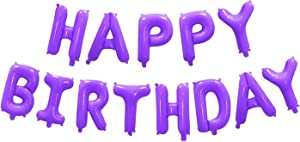 Happy Birthday Balloons Banner, 16 Inch Aluminum Foil Letters Balloons Alphabet Balloons for Birthday Party Decoration (Purple)
