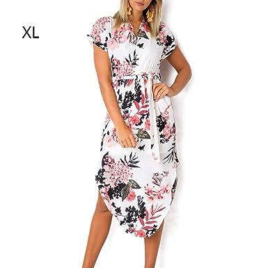 a3bb603a4ff Là Vestmon Vestido Largo Mujer Estampado de Flores Maxi Boho Verano con  Cuello en V Casual para Verano Sundrss Maxi vestid para Playa Fiesta Citas  Fresco  ...