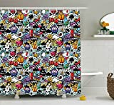 Cartoon Decor Shower Curtain by Ambesonne, Graffiti Creatures with Spray Tanks Animals and Quotations Colored Image, Fabric Bathroom Decor Set with Hooks, 75 Inches Long, Multicolor
