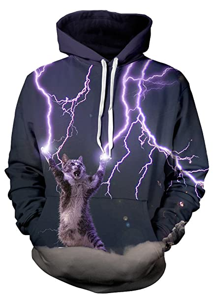 3bd8975301fa Beloved Shirts Lightning Cat Hoodie - Premium All Over Print Graphic Hoodies  - Small