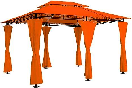 Toldo tipo gazebo de 4 x 3 m para fiestas en el jardín, al aire libre, recepción (ventilación, color a elección), naranja