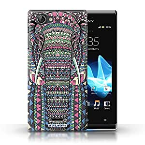 STUFF4 Phone Case / Cover for Sony Xperia J (ST26i) / Elephant-Colour Design / Aztec Animal Design Collection