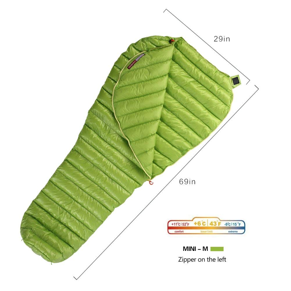 WIND HARD Goose Down Sleeping Bag Ultralight Mummy Bag with Lightweight Compression Sack 800 Fill Power 11 Degree 52F