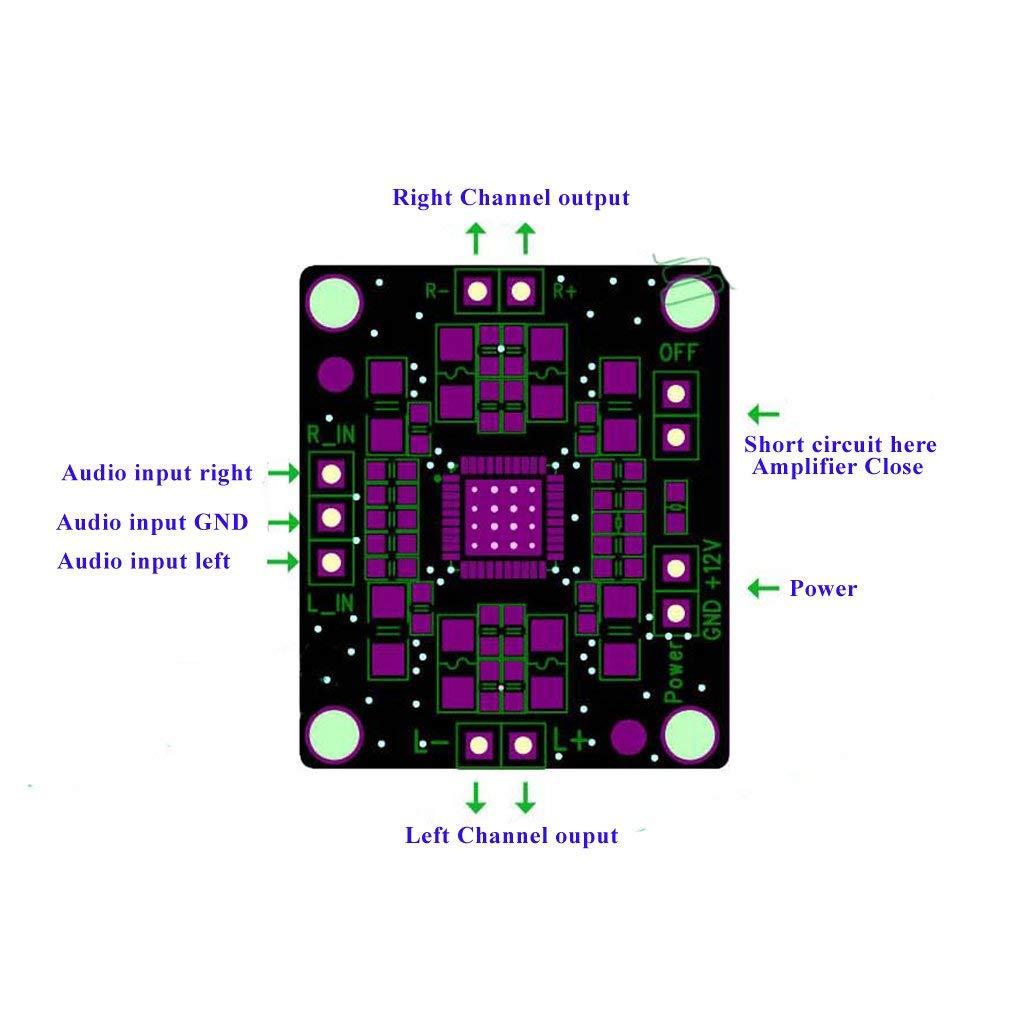 PAM8610 Lot de 3 amplificateurs audio st/ér/éo 2 x 15 W Classe D 12 V