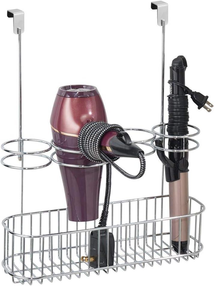 mDesign Soporte para secador de Pelo sin Taladro – Organizador de baño de Metal para secador de Cabello, Plancha para Pelo y más – Colgador para Puerta Ideal como estantería de baño – Plateado Mate