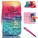 Galaxy S5 mini Case, Firefish [Kickstand] PU Leather Flip Purse Case Slim Bumper Cover with Lanyard Magnetic Skin for Samsung Galaxy S5 mini (SM-G800) + including One Stylus-Sea