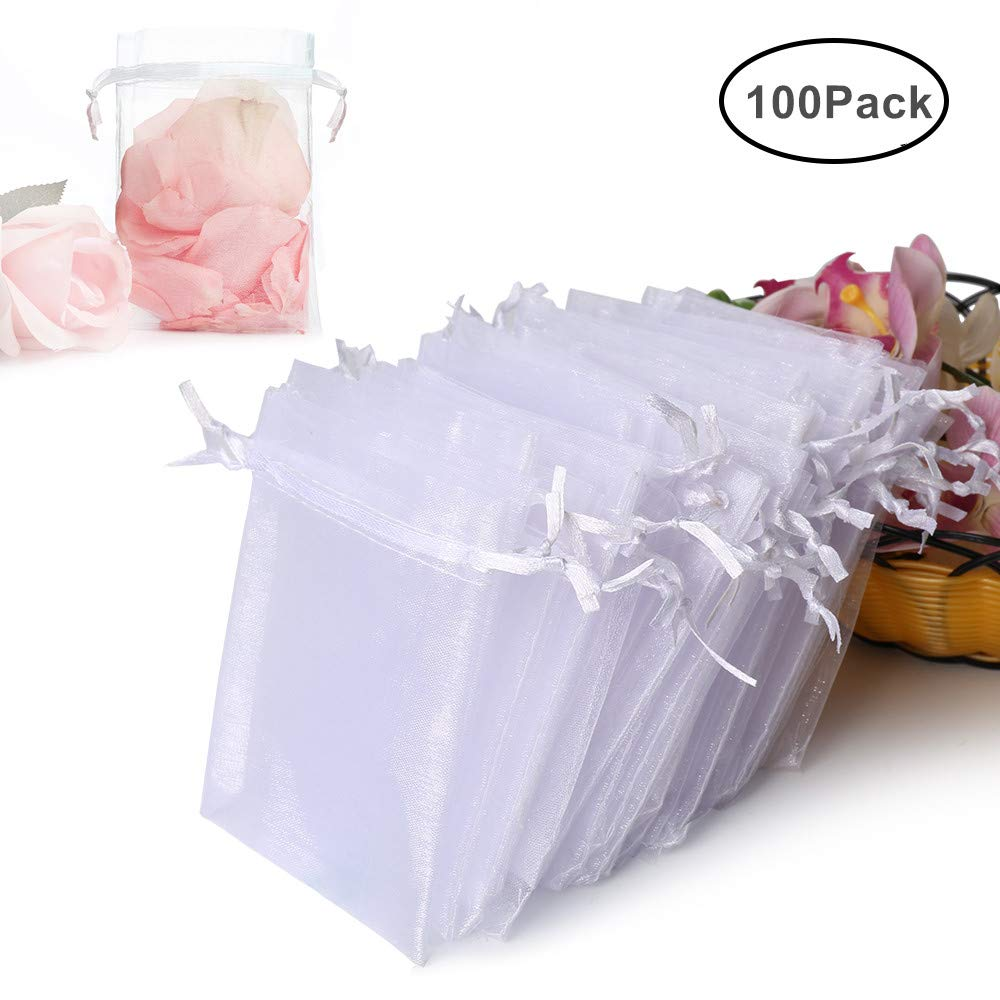 Amazon Hopttreely 100pcs Premium Sheer Organza Bags White