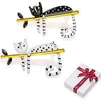 2 piezas broches mujer juego de gato con aguja, broche de boda en blanco negro alfileres suéter clips bufanda pequeña…