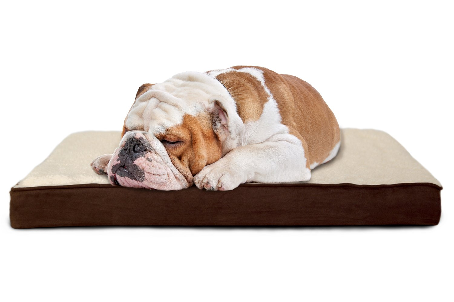 FurHaven Pet Dog Bed   Memory Foam Sherpa & Suede Mattress Pet Bed for Dogs & Cats, Espresso, Medium