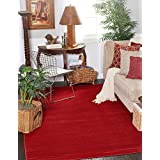Solid 8 feet by 10 feet (8' x 10') Tribeca Red Area Rug