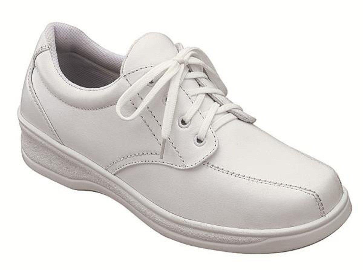 Orthofeet Lake Charles Cmofort Orthopedic Plantar Fasciitis Diabetic Womens Walking Shoes White Leather 6 M Us
