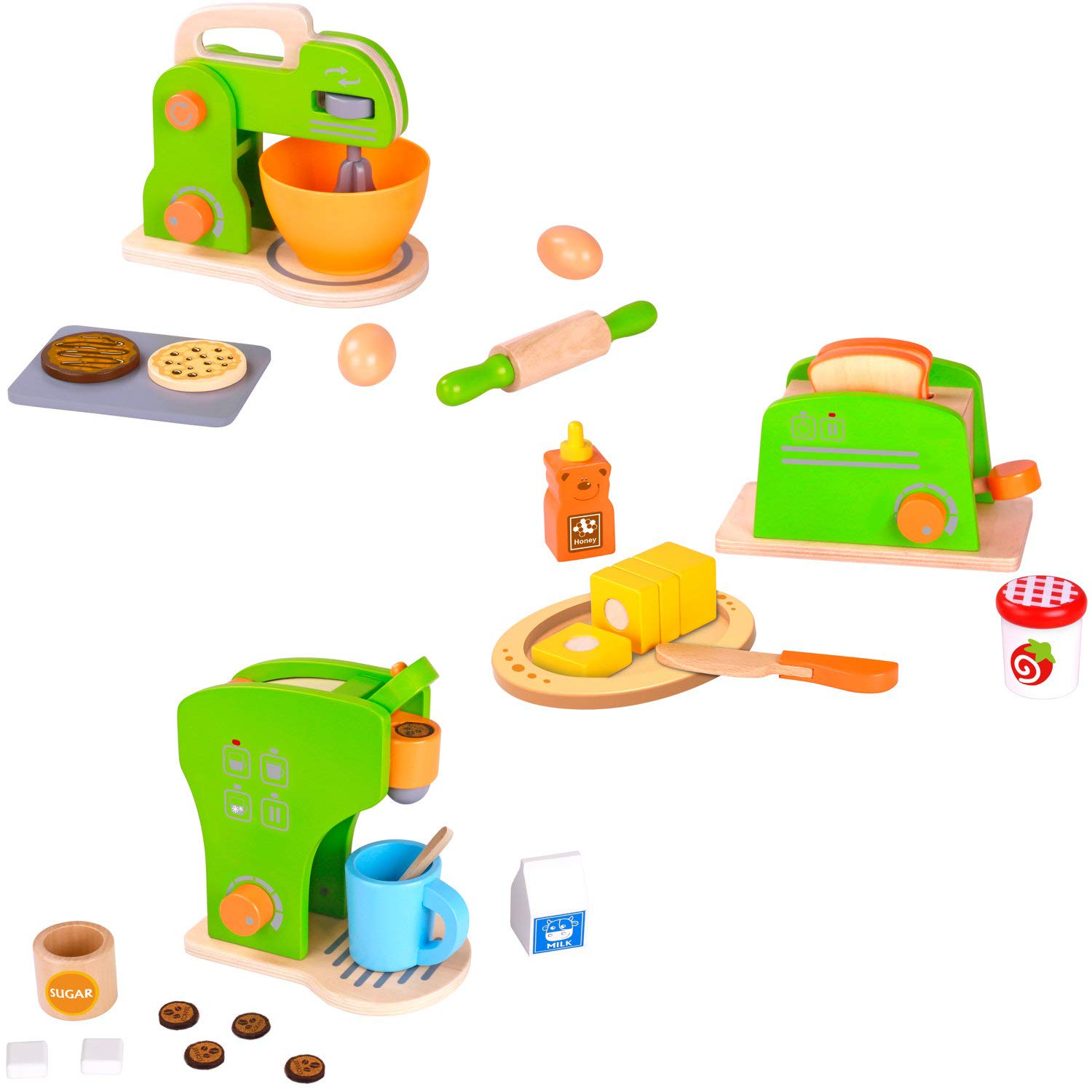Pidoko Kids Toy Kitchen Accessories - 3 Pack Bundle - Pretend Play Appliances - Mixer, Toaster and Coffee Set (32 Pieces)