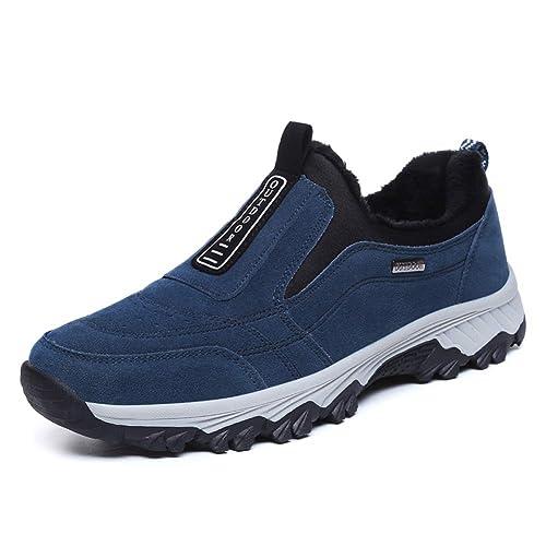 Botas de Nieve para Hombres Zapatos de Excursionismo de Invierno de Ante con Forro de Piel de Ante Cálida Casual Slip on Mocasines al Aire Libre: Amazon.es: ...