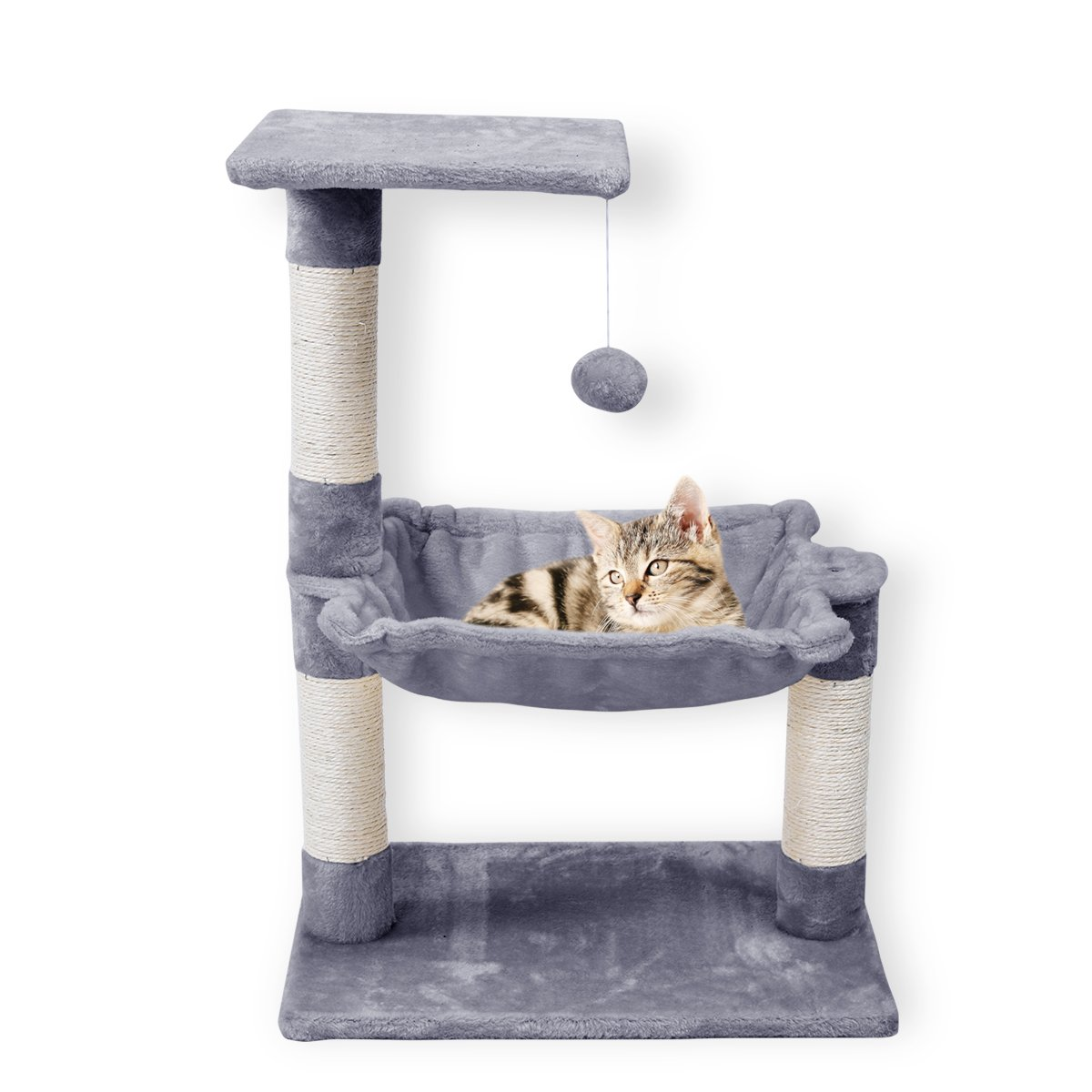 FirstWell Cat Trees - Kitty Bed Furniture, Kitten Climb Stand, with Perch, Natural Sisal Ropes Scratching Post, Hanging Toy, 27.6 Inches, Grey