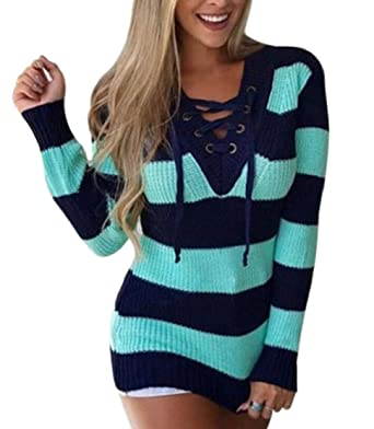 cff653b06b CYJ-shiba Women s Lace Up Front V Neck Long Sleeve Knit Striped Long Sweater  Tops
