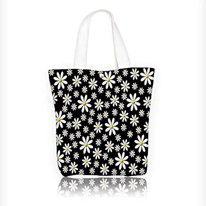 4e133777c Amazon.com: Canvas Tote Bag black background white marguerites Zipper  Closure Grocery Shopping Bag Shoulder Bag for Women Girls Students  W11xH11xD3 INCH: ...