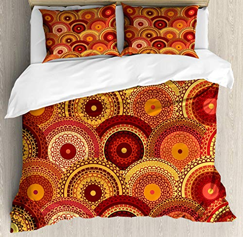 t Cover Set King Size Henna Mandala Round Figures Tribal Moroccan Ornamental Design Cultural Symbolic Decorative 4 Piece Bedding Set with 2 Pillow Shams Multicolor ()