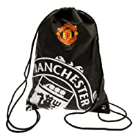 Manchester United FC Drawstring Gym Bag School Swim Sport Black Crest Fan Official