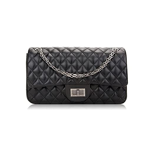 Sheli Branded Classic Medium Black Quilted Soft Lampskin Leather ... : quilted handbags leather - Adamdwight.com